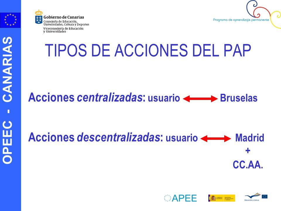 OPEEC - CANARIAS Resumiendo… PROGRAMA COMENIUSLEONARDO DA VINCI GRUNDTVIGERASMUS Acciones que se desarrollan Asociaciones escolares.