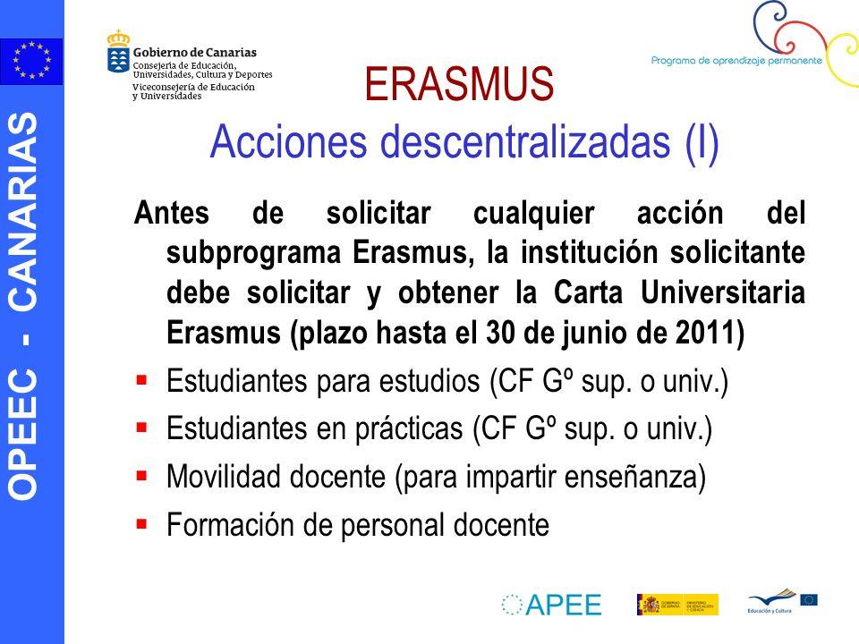 OPEEC - CANARIAS ERASMUS Acciones descentralizadas (I) Antes de solicitar cualquier acción del subprograma Erasmus, la institución solicitante debe so