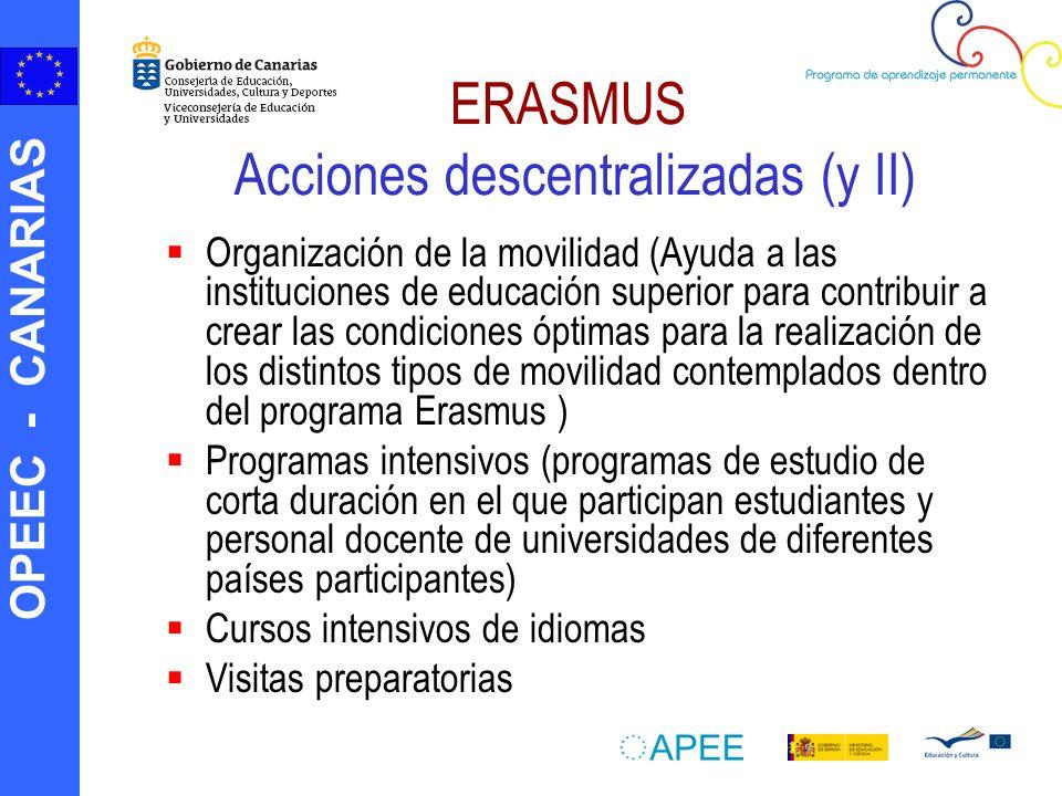 OPEEC - CANARIAS ERASMUS Acciones descentralizadas (y II) Organización de la movilidad (Ayuda a las instituciones de educación superior para contribui