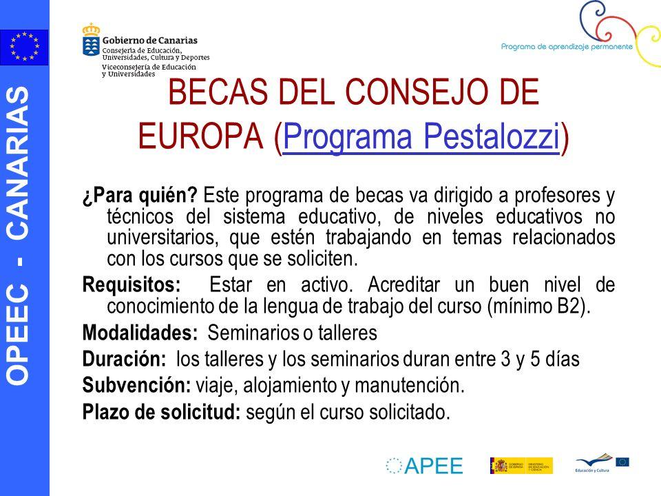 OPEEC - CANARIAS BECAS DEL CONSEJO DE EUROPA (Programa Pestalozzi)Programa Pestalozzi ¿Para quién? Este programa de becas va dirigido a profesores y t