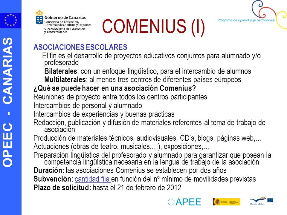 OPEEC - CANARIAS COMENIUS (I) ASOCIACIONES ESCOLARES El fin es el desarrollo de proyectos educativos conjuntos para alumnado y/o profesorado Bilateral
