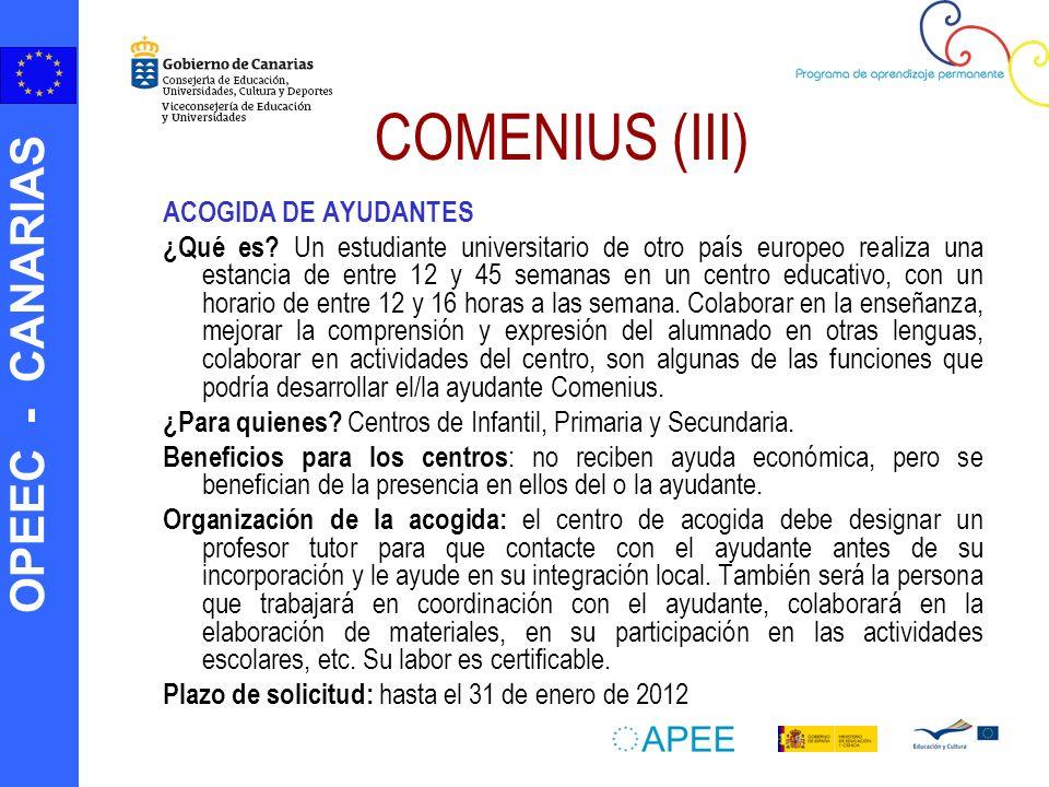 OPEEC - CANARIAS COMENIUS (III) ACOGIDA DE AYUDANTES ¿Qué es? Un estudiante universitario de otro país europeo realiza una estancia de entre 12 y 45 s