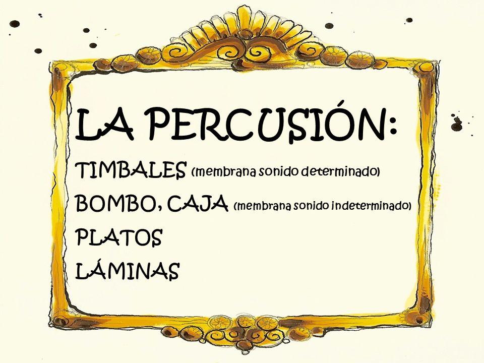 LA PERCUSIÓN: TIMBALES (membrana sonido determinado) BOMBO, CAJA (membrana sonido indeterminado) PLATOS LÁMINAS