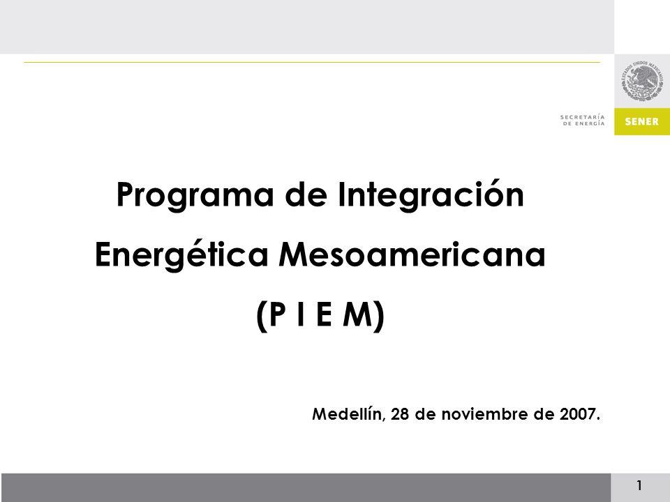 1 Programa de Integración Energética Mesoamericana (P I E M) Medellín, 28 de noviembre de 2007.