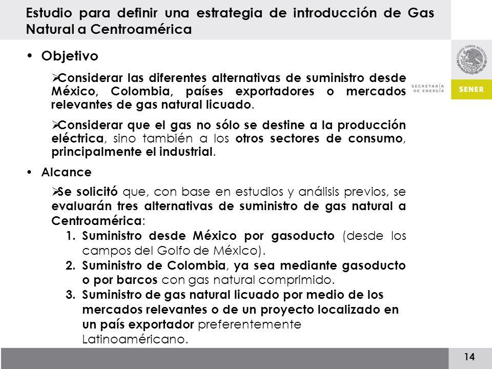14 Objetivo Considerar las diferentes alternativas de suministro desde México, Colombia, países exportadores o mercados relevantes de gas natural licuado.