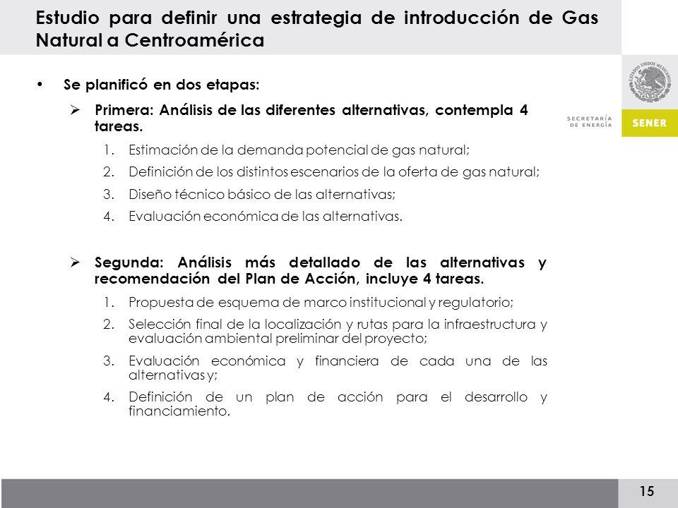 15 Estudio para definir una estrategia de introducción de Gas Natural a Centroamérica Se planificó en dos etapas: Primera: Análisis de las diferentes alternativas, contempla 4 tareas.
