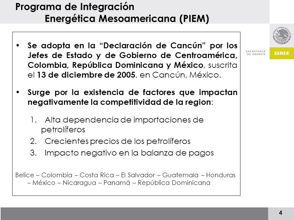 5 Programa de Integración Energética Mesoamericana (PIEM) Se crea con el objetivo de impulsar la integración, el crecimiento económico y el desarrollo sustentable de la región.