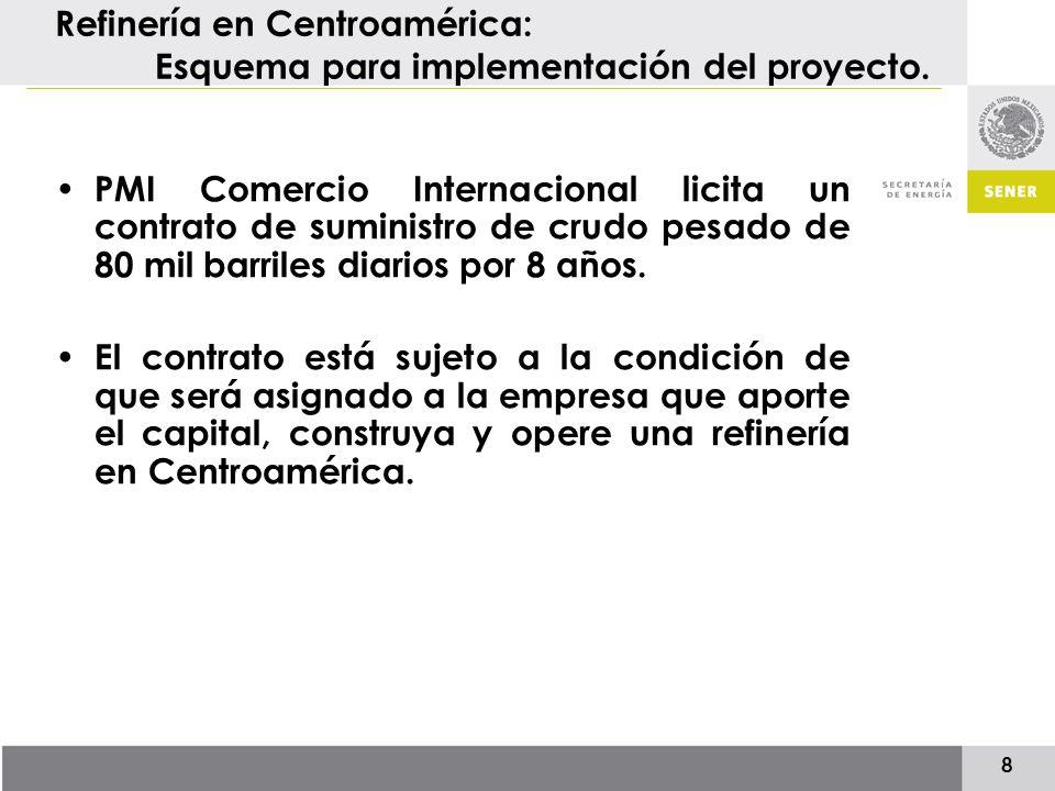 9 Refinería en Centroamérica: Preselección para participar en la licitación 4 empresas fueron preseleccionadas por el Comité Técnico del PIEM para participar en la licitación (16 de Noviembre de 2006): –Reliance Industries Limited (India) –China National Petroleum Corporation (China) –Valero Energy Corporation (EEUU) –ITOCHU Corporation (Japón)* ECOPETROL fue invitada a participar en el proceso licitatorio por acuerdo del Comité Técnico (27 de abril de 2007), sumando así 5 empresas precalificadas.