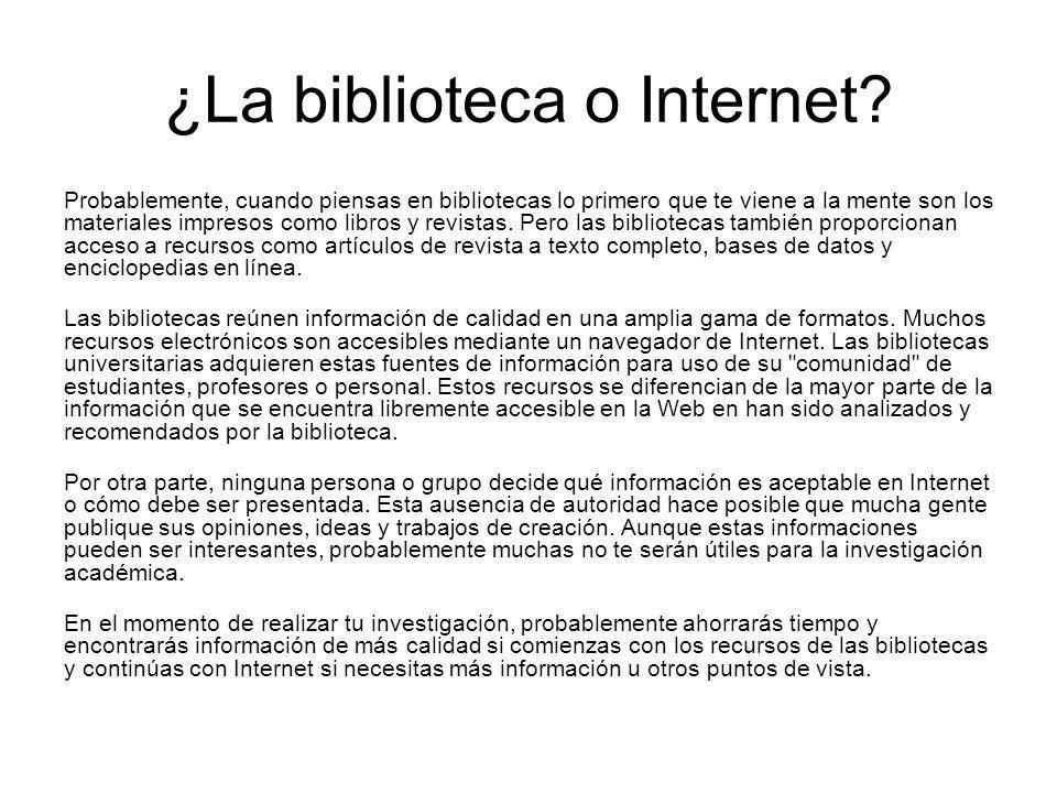¿La biblioteca o Internet? Probablemente, cuando piensas en bibliotecas lo primero que te viene a la mente son los materiales impresos como libros y r