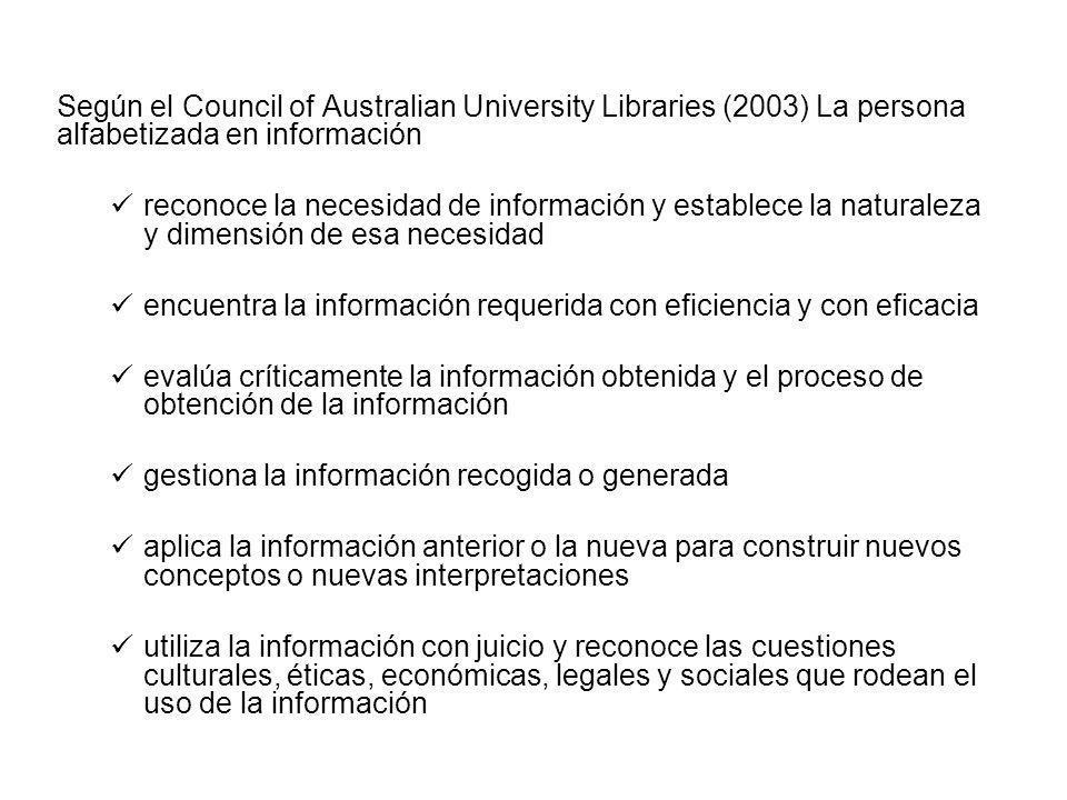 Según el Council of Australian University Libraries (2003) La persona alfabetizada en información reconoce la necesidad de información y establece la