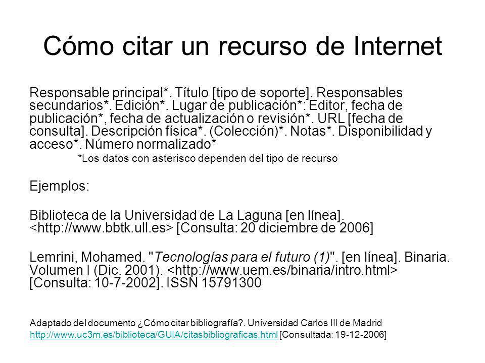 Cómo citar un recurso de Internet Responsable principal*. Título [tipo de soporte]. Responsables secundarios*. Edición*. Lugar de publicación*: Editor