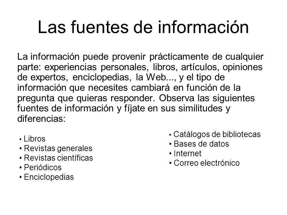 Las fuentes de información La información puede provenir prácticamente de cualquier parte: experiencias personales, libros, artículos, opiniones de ex