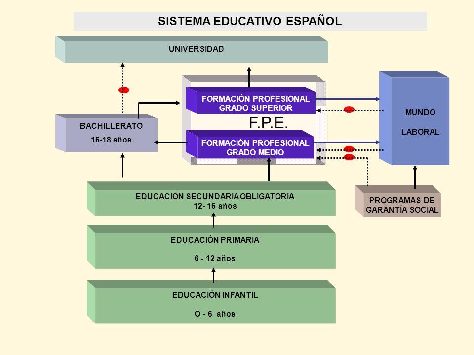 UNIVERSIDAD BACHILLERATO 16-18 años FORMACIÓN PROFESIONAL GRADO SUPERIOR FORMACIÓN PROFESIONAL GRADO MEDIO EDUCACIÓN SECUNDARIA OBLIGATORIA 12- 16 año