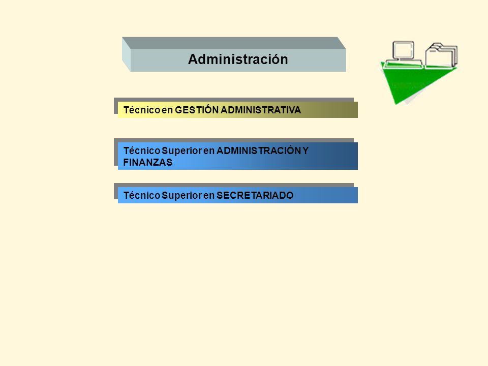 Administración Técnico en GESTIÓN ADMINISTRATIVA Técnico Superior en ADMINISTRACIÓN Y FINANZAS Técnico Superior en SECRETARIADO