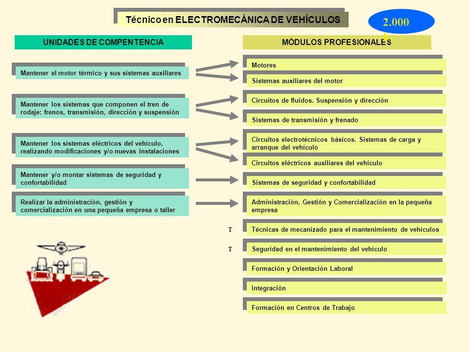 Técnico en ELECTROMECÁNICA DE VEHÍCULOS Mantener el motor térmico y sus sistemas auxiliares Mantener los sistemas que componen el tren de rodaje: fren