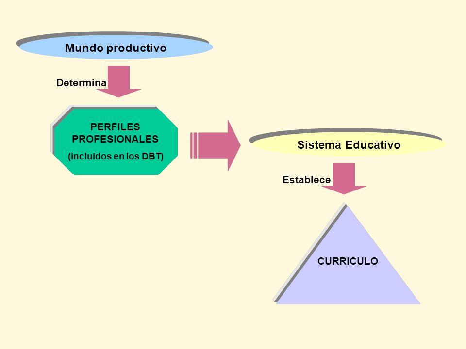 PERFILES PROFESIONALES (incluidos en los DBT) Mundo productivo Determina Sistema Educativo Establece CURRICULO