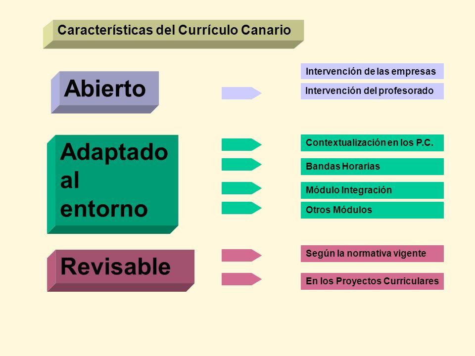 Características del Currículo Canario Abierto Adaptado al entorno Revisable Intervención del profesorado Contextualización en los P.C. Bandas Horarias
