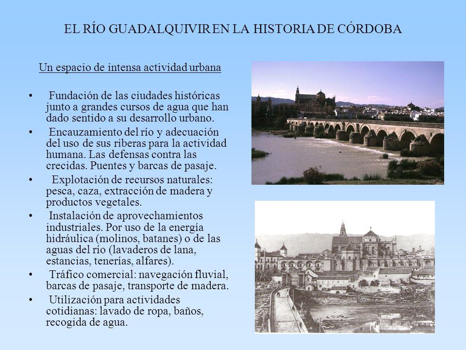 EL RÍO GUADALQUIVIR EN LA HISTORIA DE CÓRDOBA Un espacio de intensa actividad urbana Fundación de las ciudades históricas junto a grandes cursos de ag