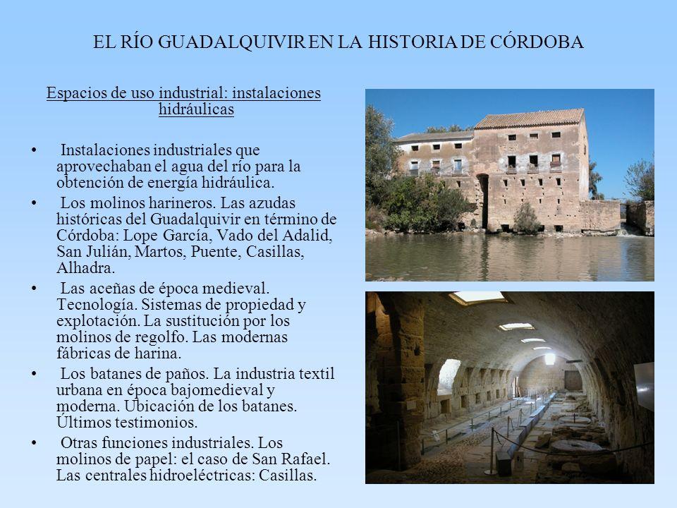 EL RÍO GUADALQUIVIR EN LA HISTORIA DE CÓRDOBA Espacios de uso industrial: instalaciones hidráulicas Instalaciones industriales que aprovechaban el agua del río para la obtención de energía hidráulica.