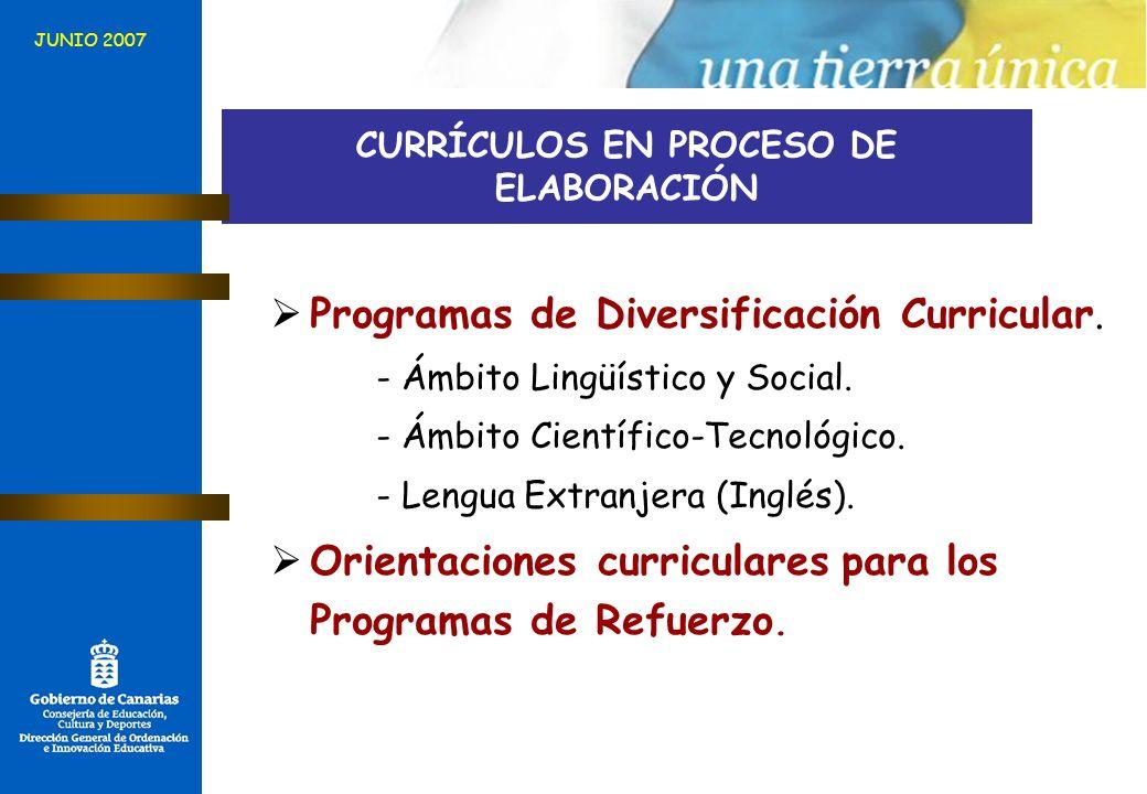 CURRÍCULOS EN PROCESO DE ELABORACIÓN Programas de Diversificación Curricular. - Ámbito Lingüístico y Social. - Ámbito Científico-Tecnológico. - Lengua