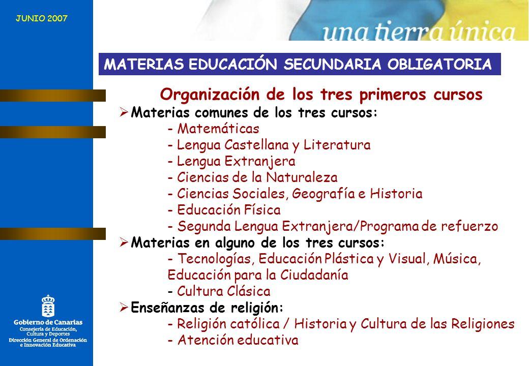 MATERIAS EDUCACIÓN SECUNDARIA OBLIGATORIA Organización de los tres primeros cursos Materias comunes de los tres cursos: - Matemáticas - Lengua Castell