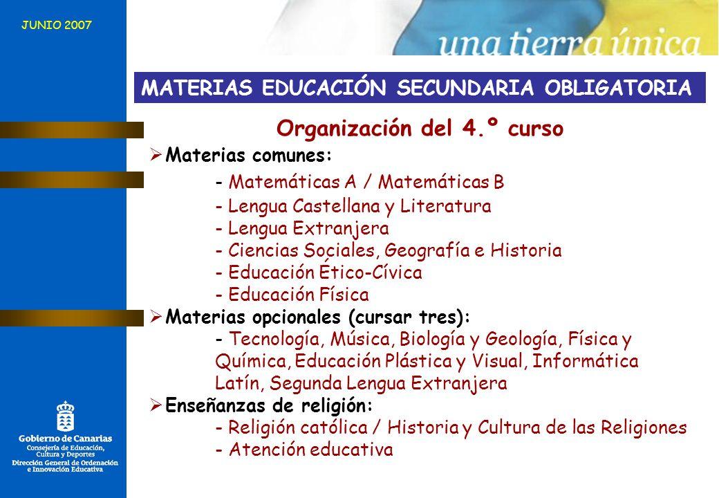 Organización del 4.º curso Materias comunes: - Matemáticas A / Matemáticas B - Lengua Castellana y Literatura - Lengua Extranjera - Ciencias Sociales,