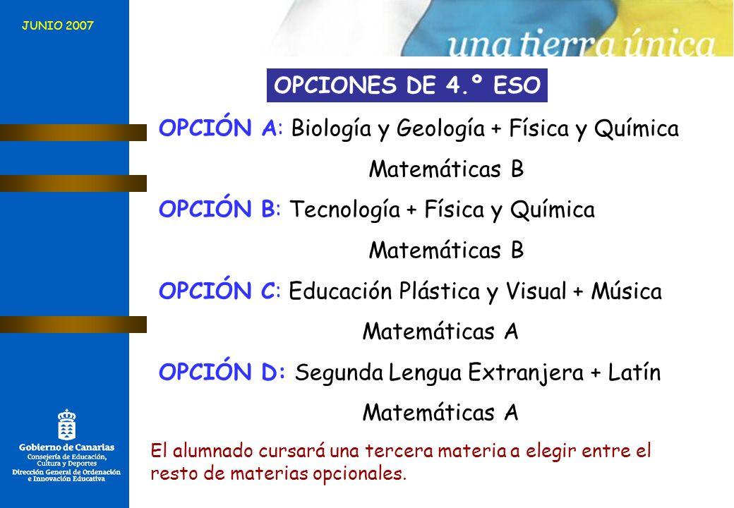 JUNIO 2007 OPCIONES DE 4.º ESO OPCIÓN A: Biología y Geología + Física y Química Matemáticas B OPCIÓN B: Tecnología + Física y Química Matemáticas B OP