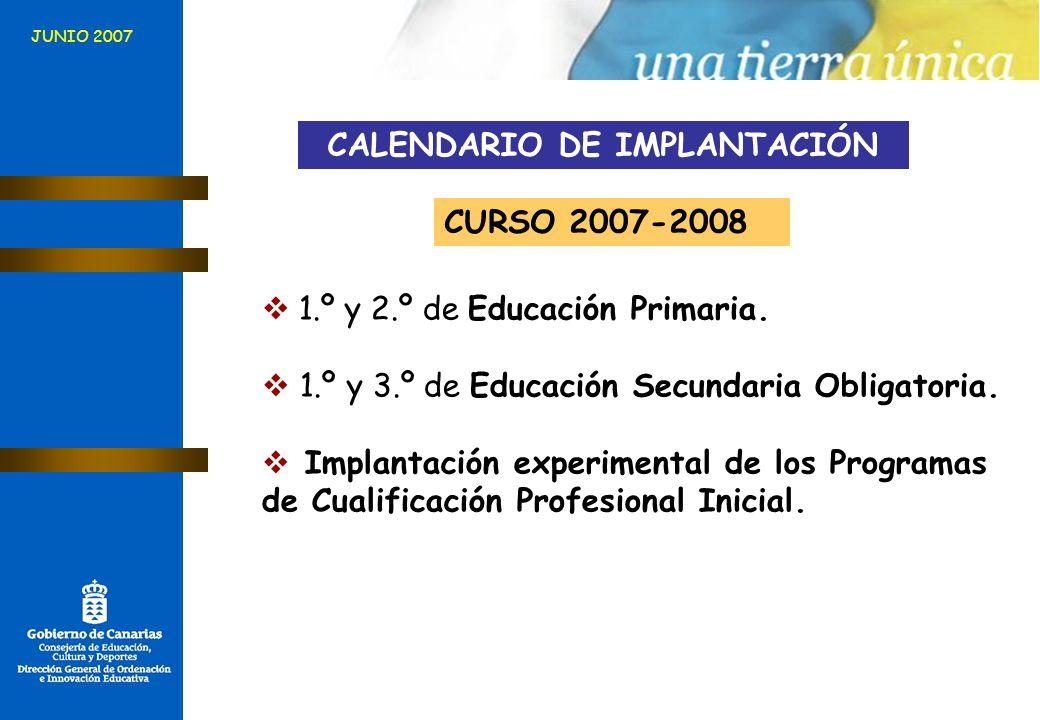 JUNIO 2007 CALENDARIO DE IMPLANTACIÓN CURSO 2007-2008 1.º y 2.º de Educación Primaria. 1.º y 3.º de Educación Secundaria Obligatoria. Implantación exp