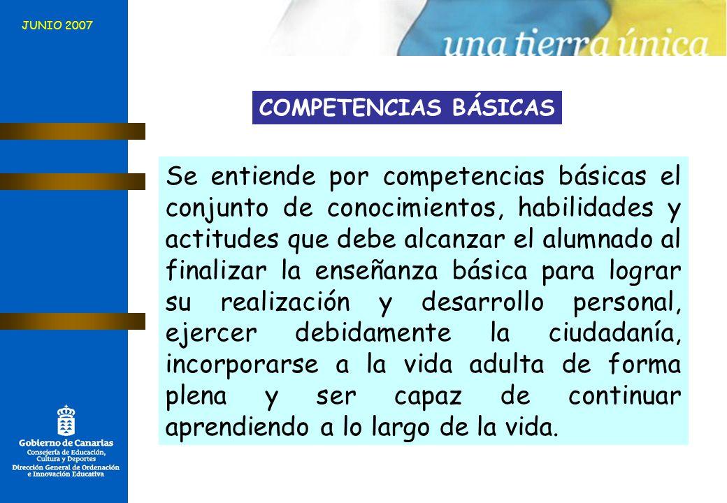 Se entiende por competencias básicas el conjunto de conocimientos, habilidades y actitudes que debe alcanzar el alumnado al finalizar la enseñanza bás