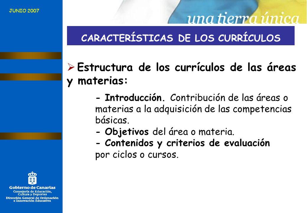 JUNIO 2007 CARACTERÍSTICAS DE LOS CURRÍCULOS Estructura de los currículos de las áreas y materias: - Introducción. Contribución de las áreas o materia