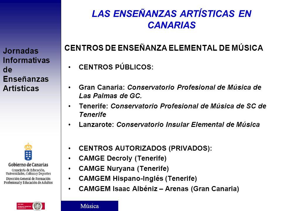 Jornadas Informativas de Enseñanzas Artísticas ENSEÑANZAS ELEMENTALES DE MÚSICA Duración: 4 cursos. Acceso y edad mínima: –Mediante prueba de aptitud.