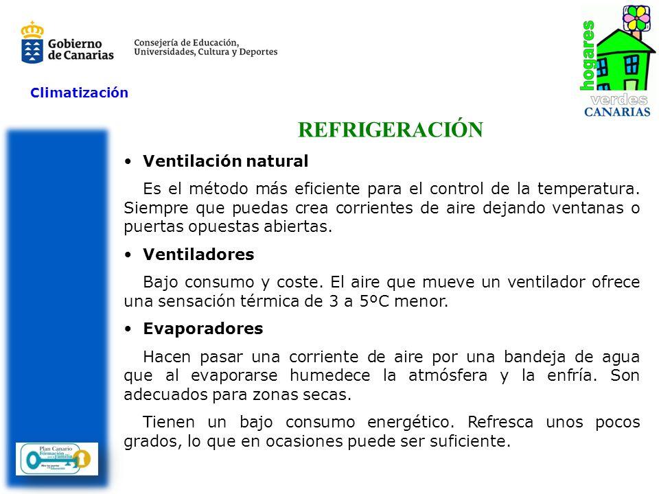 Climatización REFRIGERACIÓN Ventilación natural Es el método más eficiente para el control de la temperatura. Siempre que puedas crea corrientes de ai