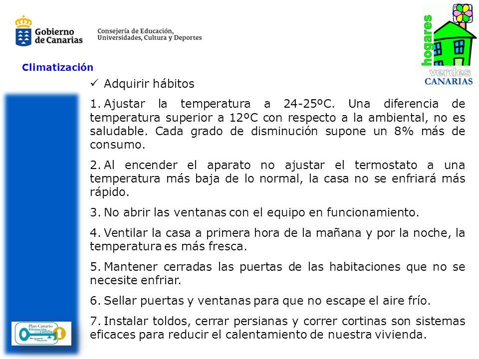 Climatización Adquirir hábitos 1.Ajustar la temperatura a 24-25ºC. Una diferencia de temperatura superior a 12ºC con respecto a la ambiental, no es sa