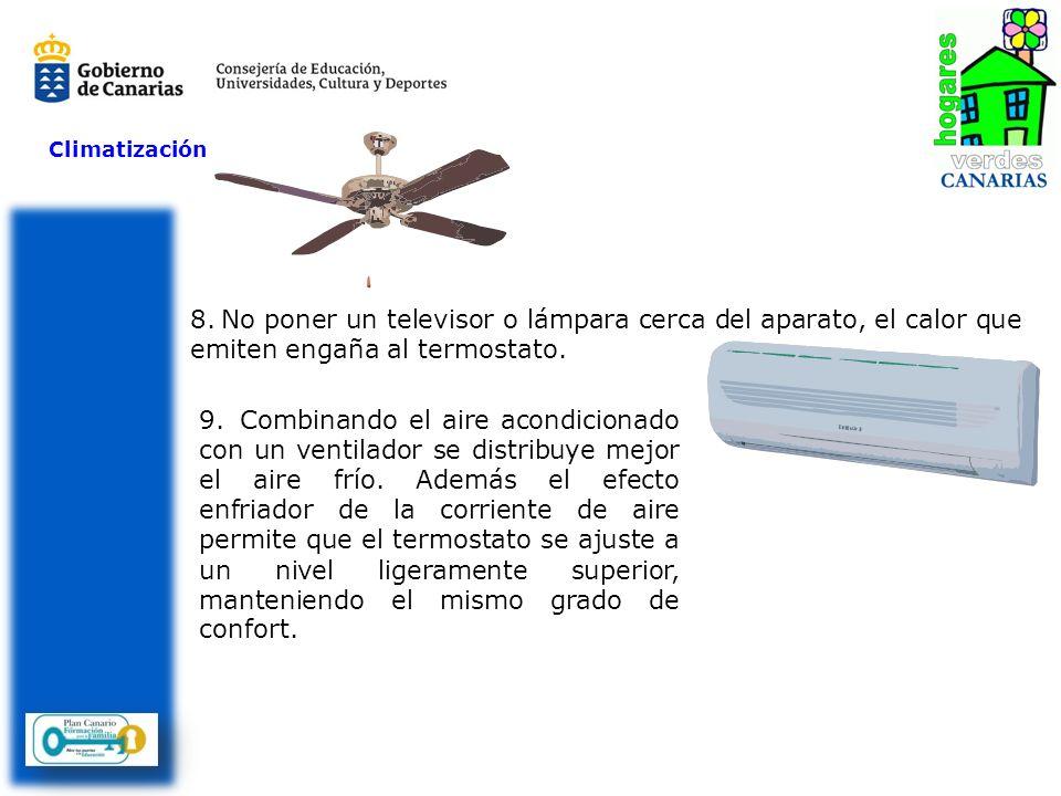 Climatización 8.No poner un televisor o lámpara cerca del aparato, el calor que emiten engaña al termostato. 9.Combinando el aire acondicionado con un