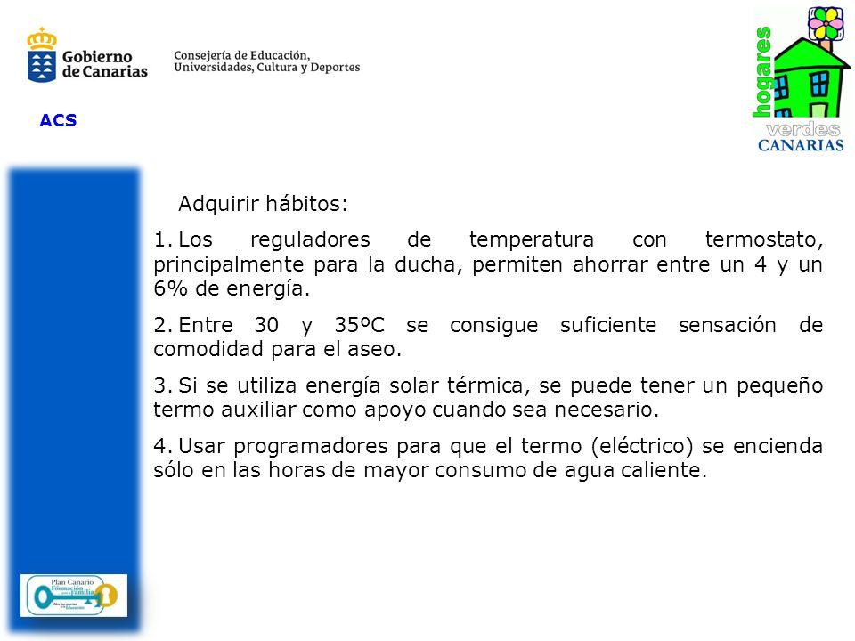 ACS Adquirir hábitos: 1.Los reguladores de temperatura con termostato, principalmente para la ducha, permiten ahorrar entre un 4 y un 6% de energía. 2