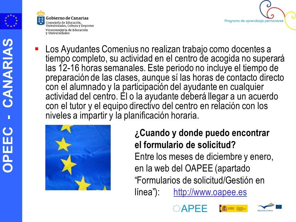 OPEEC - CANARIAS Los Ayudantes Comenius no realizan trabajo como docentes a tiempo completo, su actividad en el centro de acogida no superará las 12-16 horas semanales.