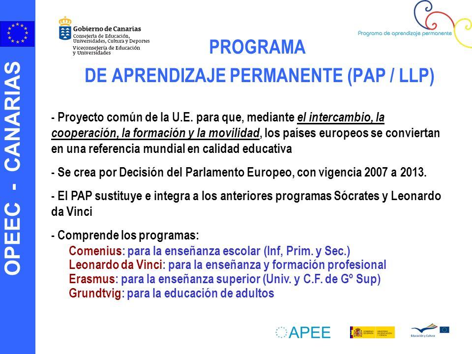 OPEEC - CANARIAS PROGRAMA DE APRENDIZAJE PERMANENTE (PAP / LLP) - Proyecto común de la U.E.
