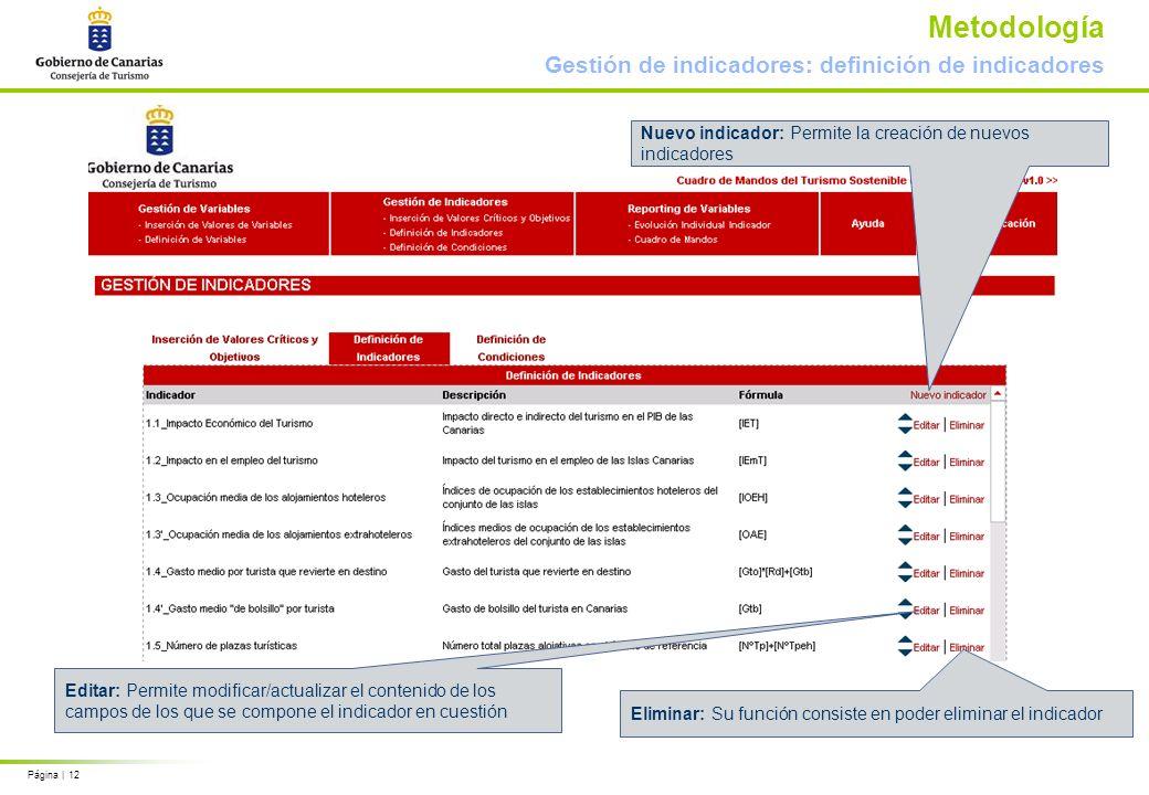 Página | 12 Metodología Gestión de indicadores: definición de indicadores Nuevo indicador: Permite la creación de nuevos indicadores Editar: Permite modificar/actualizar el contenido de los campos de los que se compone el indicador en cuestión Eliminar: Su función consiste en poder eliminar el indicador