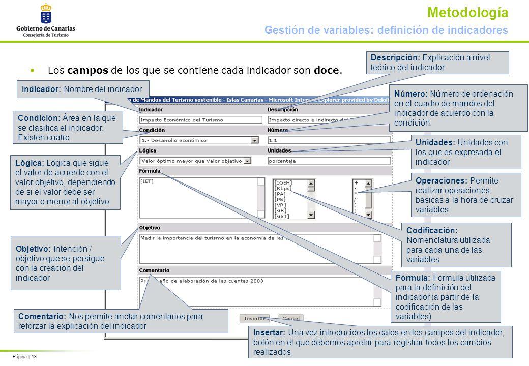 Página | 13 Metodología Gestión de variables: definición de indicadores Los campos de los que se contiene cada indicador son doce. Indicador: Nombre d