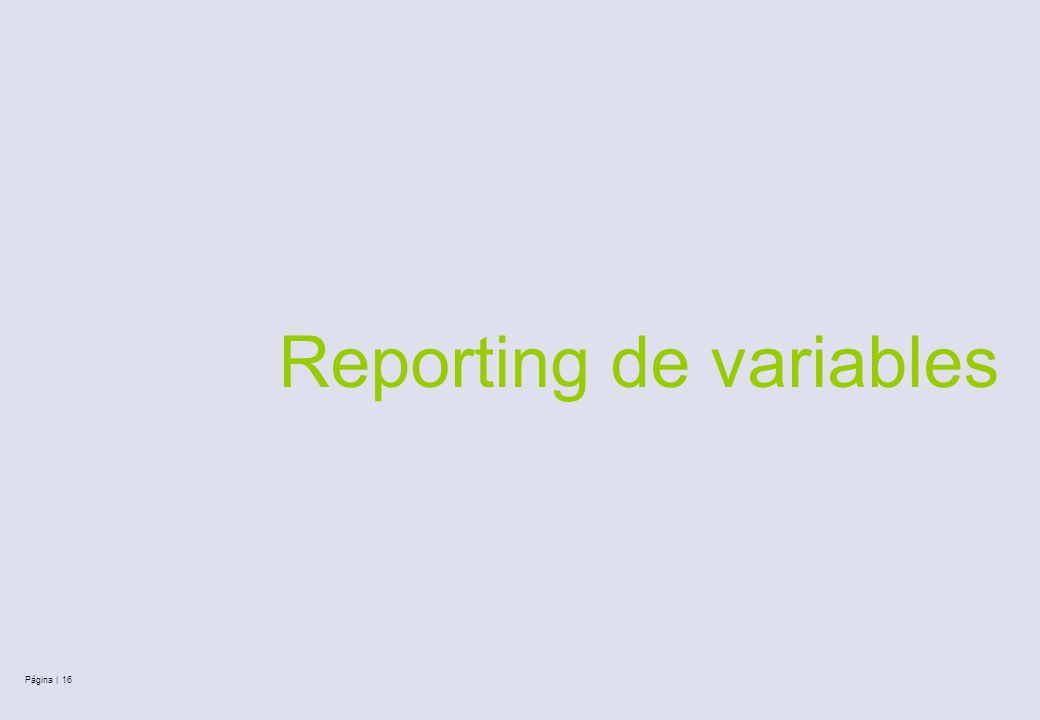 Reporting de variables Página | 16