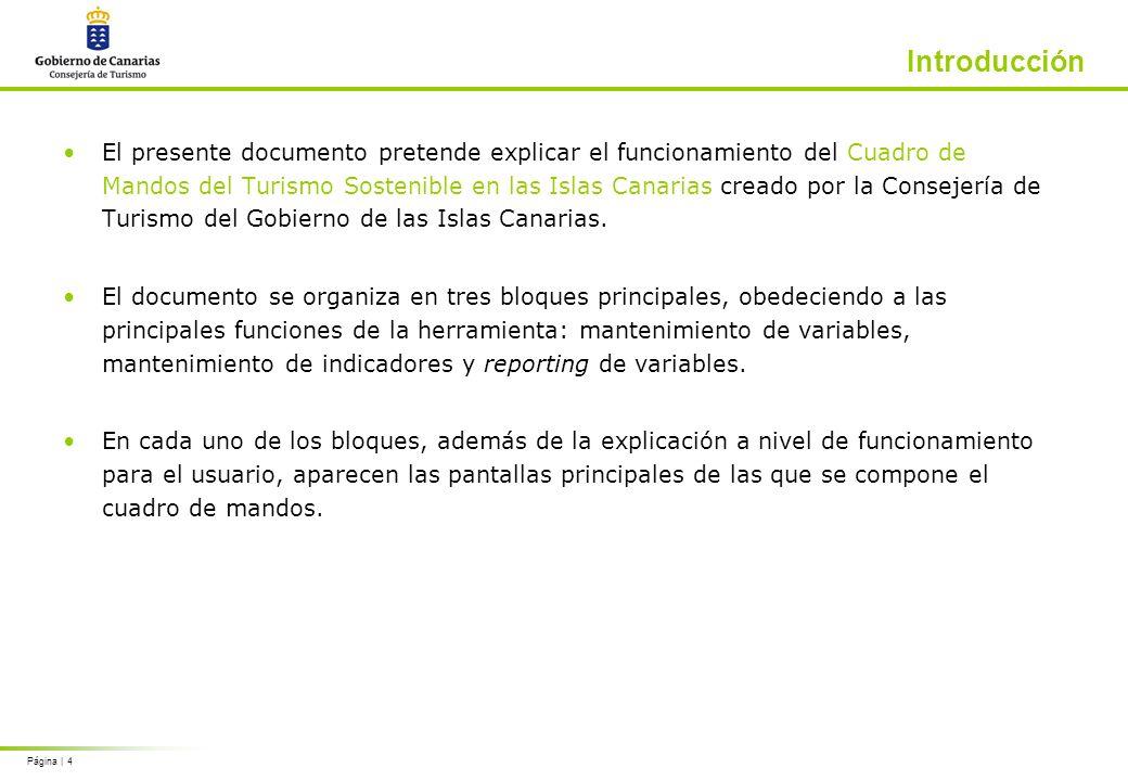 Página | 4 Introducción El presente documento pretende explicar el funcionamiento del Cuadro de Mandos del Turismo Sostenible en las Islas Canarias creado por la Consejería de Turismo del Gobierno de las Islas Canarias.