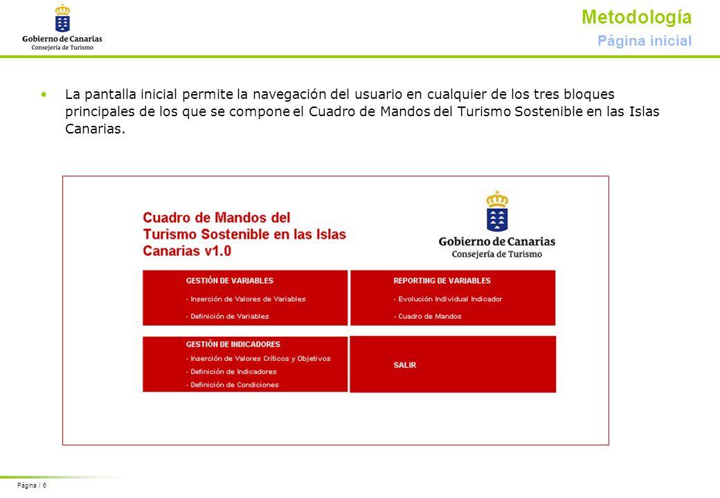 Página | 6 Metodología Página inicial La pantalla inicial permite la navegación del usuario en cualquier de los tres bloques principales de los que se compone el Cuadro de Mandos del Turismo Sostenible en las Islas Canarias.
