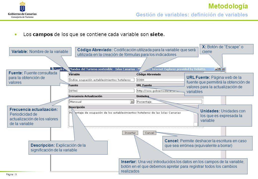 Página | 9 Metodología Gestión de variables: definición de variables Los campos de los que se contiene cada variable son siete.
