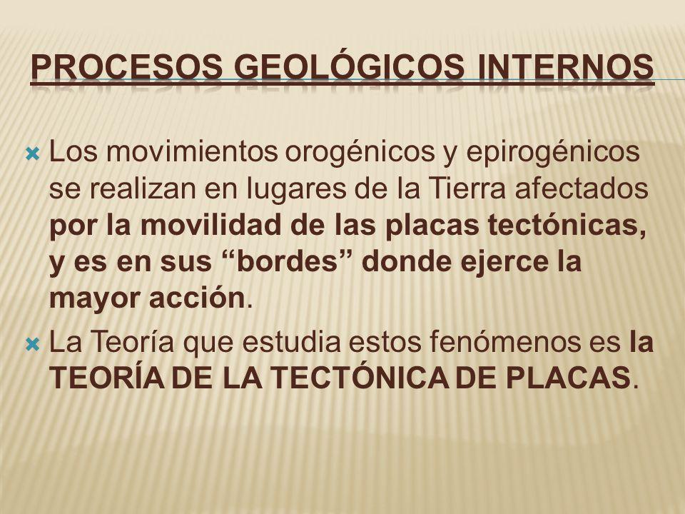 Los movimientos orogénicos y epirogénicos se realizan en lugares de la Tierra afectados por la movilidad de las placas tectónicas, y es en sus bordes