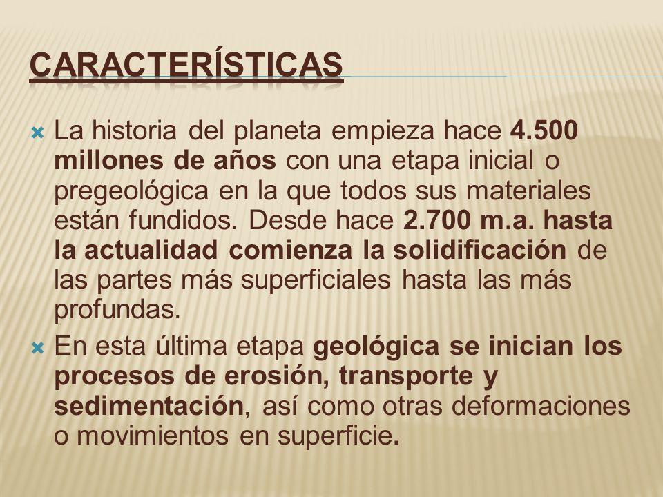 La historia del planeta empieza hace 4.500 millones de años con una etapa inicial o pregeológica en la que todos sus materiales están fundidos. Desde