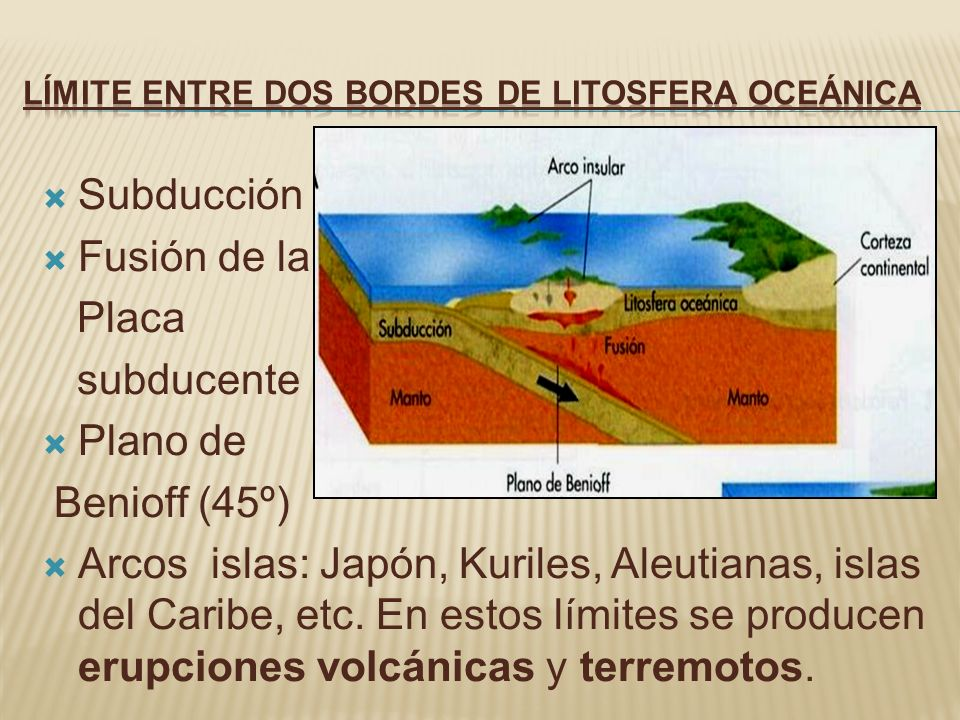 Subducción Fusión de la Placa subducente Plano de Benioff (45º) Arcos islas: Japón, Kuriles, Aleutianas, islas del Caribe, etc. En estos límites se pr