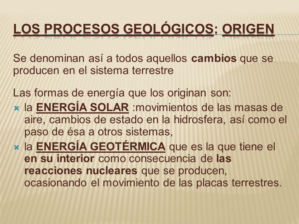 Se denominan así a todos aquellos cambios que se producen en el sistema terrestre Las formas de energía que los originan son: la ENERGÍA SOLAR :movimi