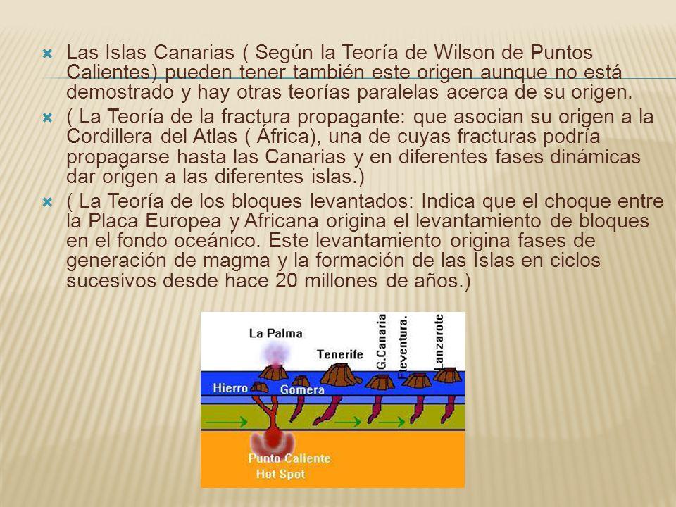 Las Islas Canarias ( Según la Teoría de Wilson de Puntos Calientes) pueden tener también este origen aunque no está demostrado y hay otras teorías par