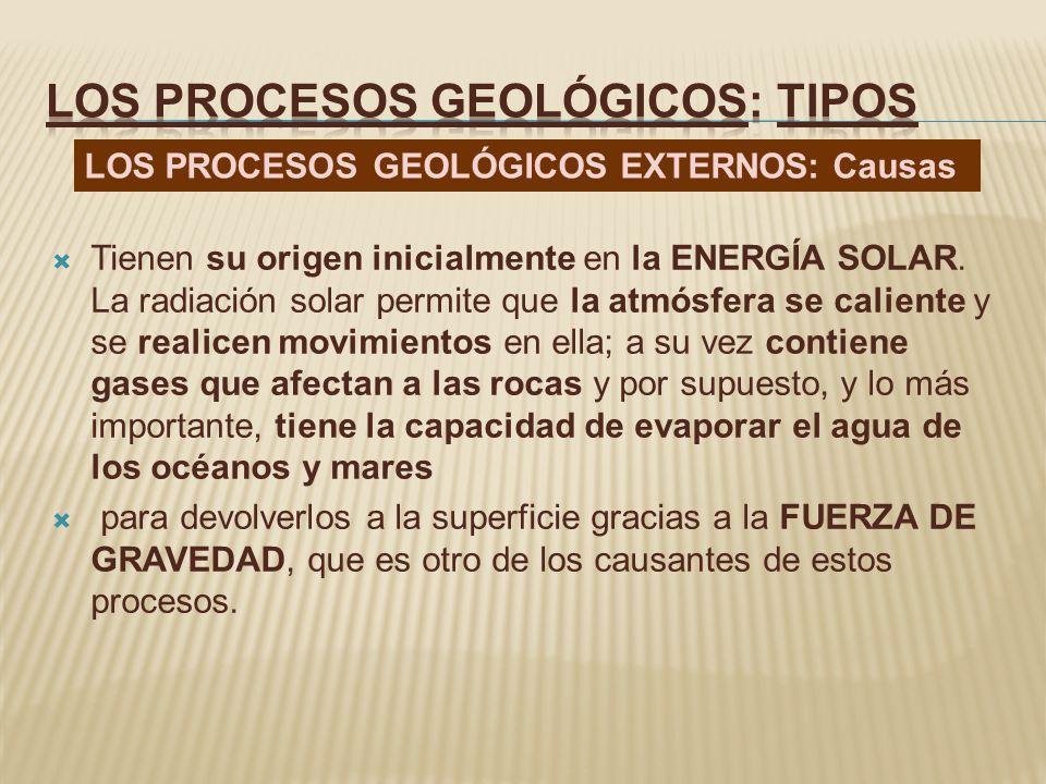 La localización de su acción así como de sus efectos se realiza en la zona superficial de la litosfera Los procesos que realizan los agentes geológicos externos son: METEORIZACIÓN, EROSIÓN, TRANSPORTE y la SEDIMENTACIÓN LOS PROCESOS GEOLÓGICOS EXTERNOS