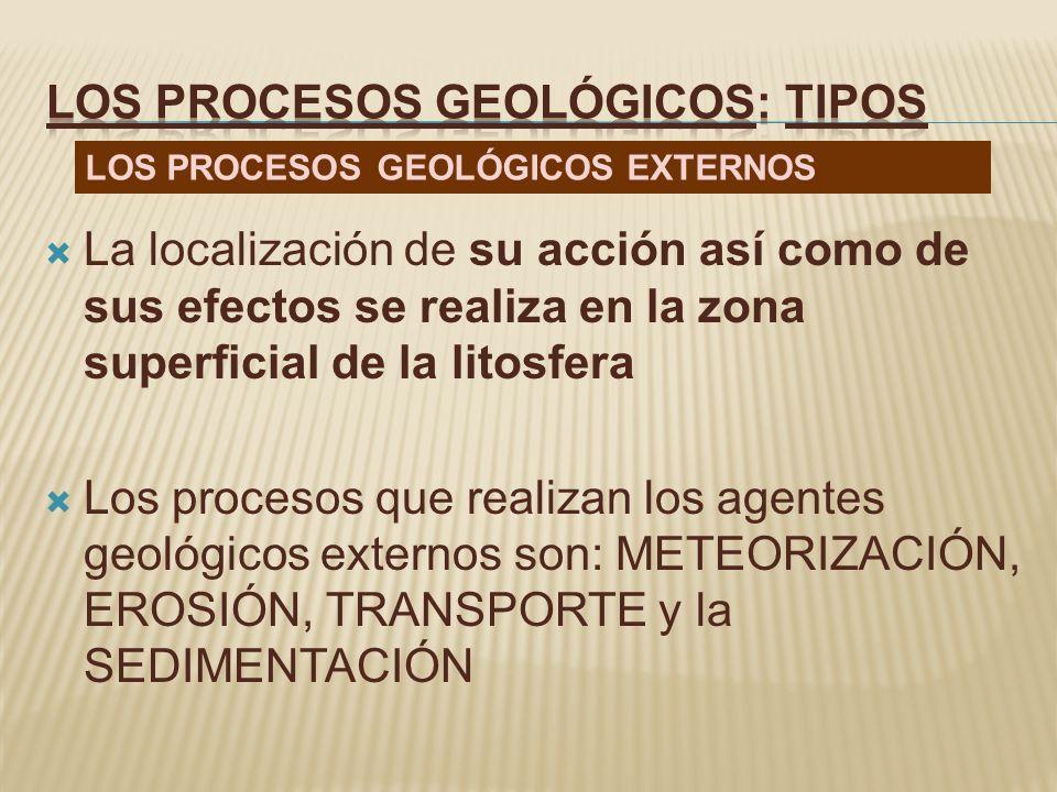 La localización de su acción así como de sus efectos se realiza en la zona superficial de la litosfera Los procesos que realizan los agentes geológico